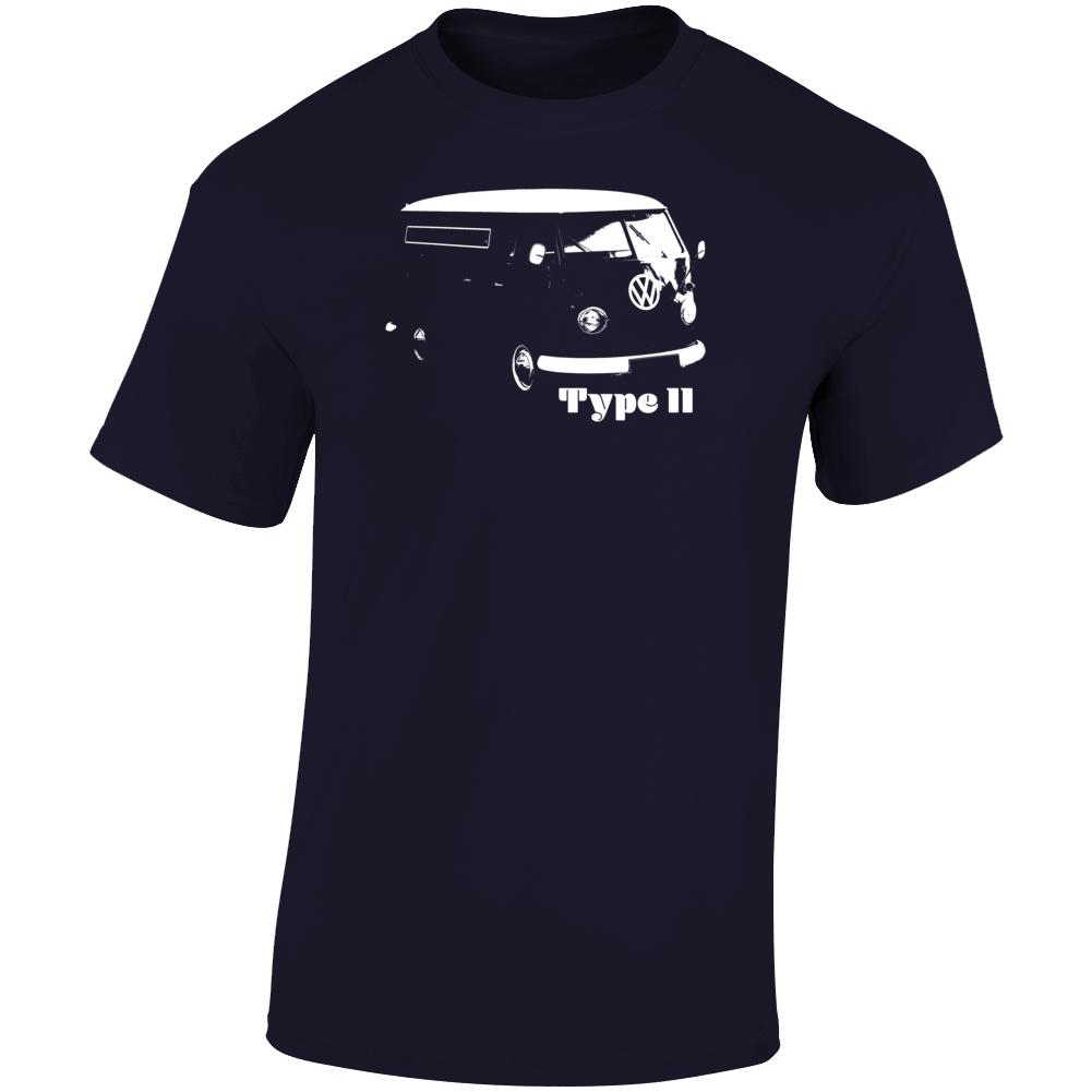 1949 V W Type I I Bus Three Quarter Angle View With Model Name Dark Color T Shirt