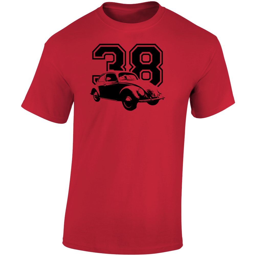 1938 V W Beetle Three Quarter Angle View With Year Light Color T Shirt