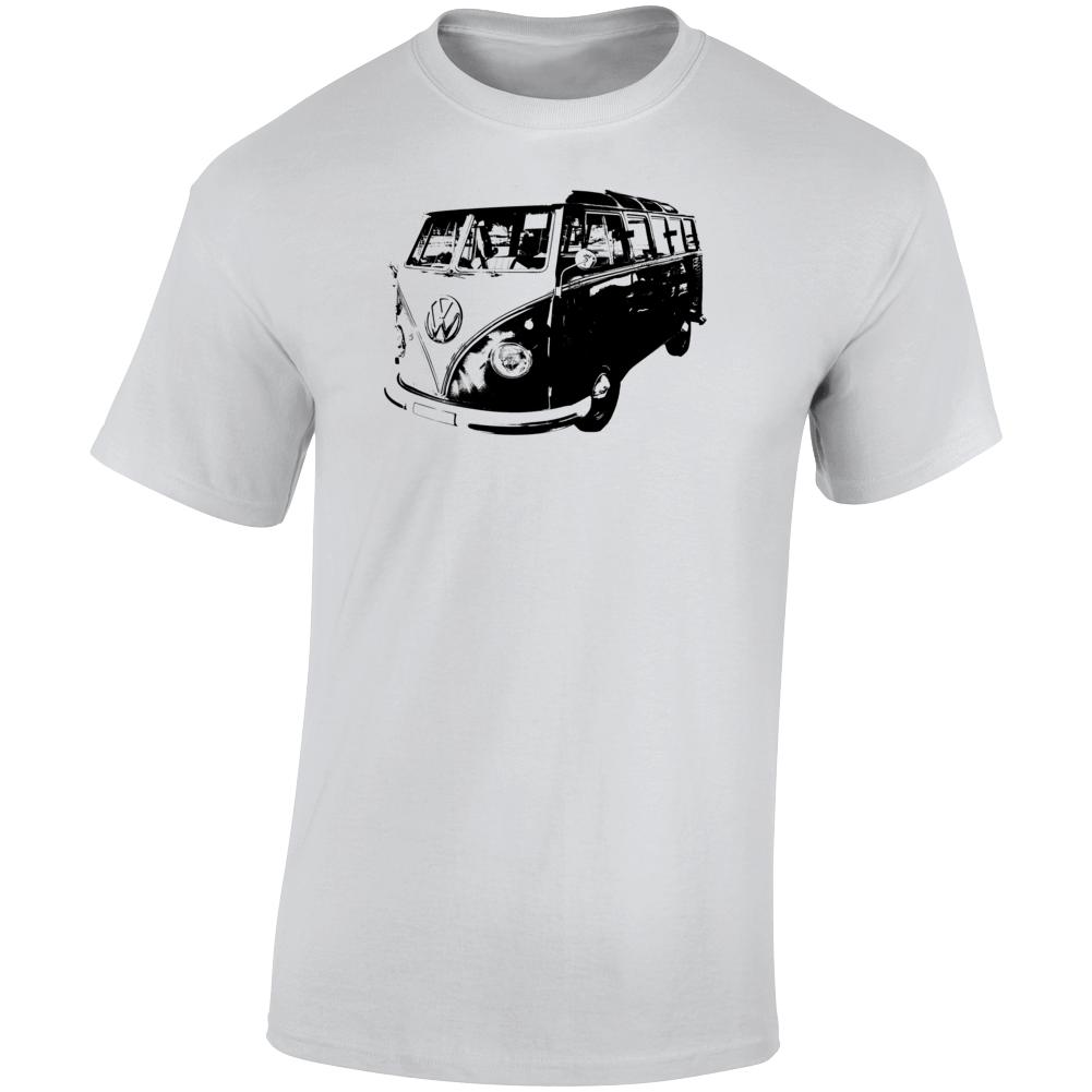 1960 V W Type 2 Transporter Three Quarter Angle View Light Color T Shirt