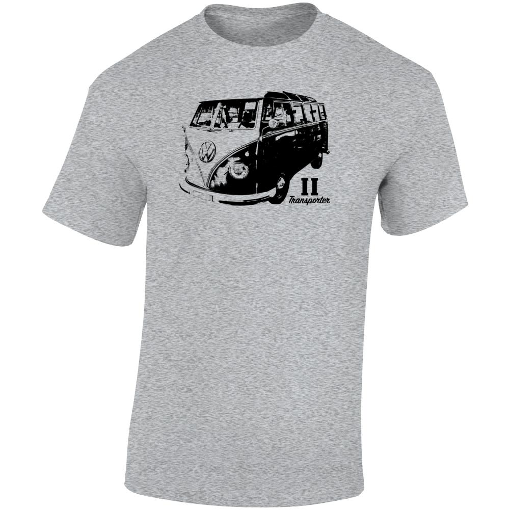 1960 V W Type 2 Transporter Three Quarter Angle View With Model Name Light Color T Shirt