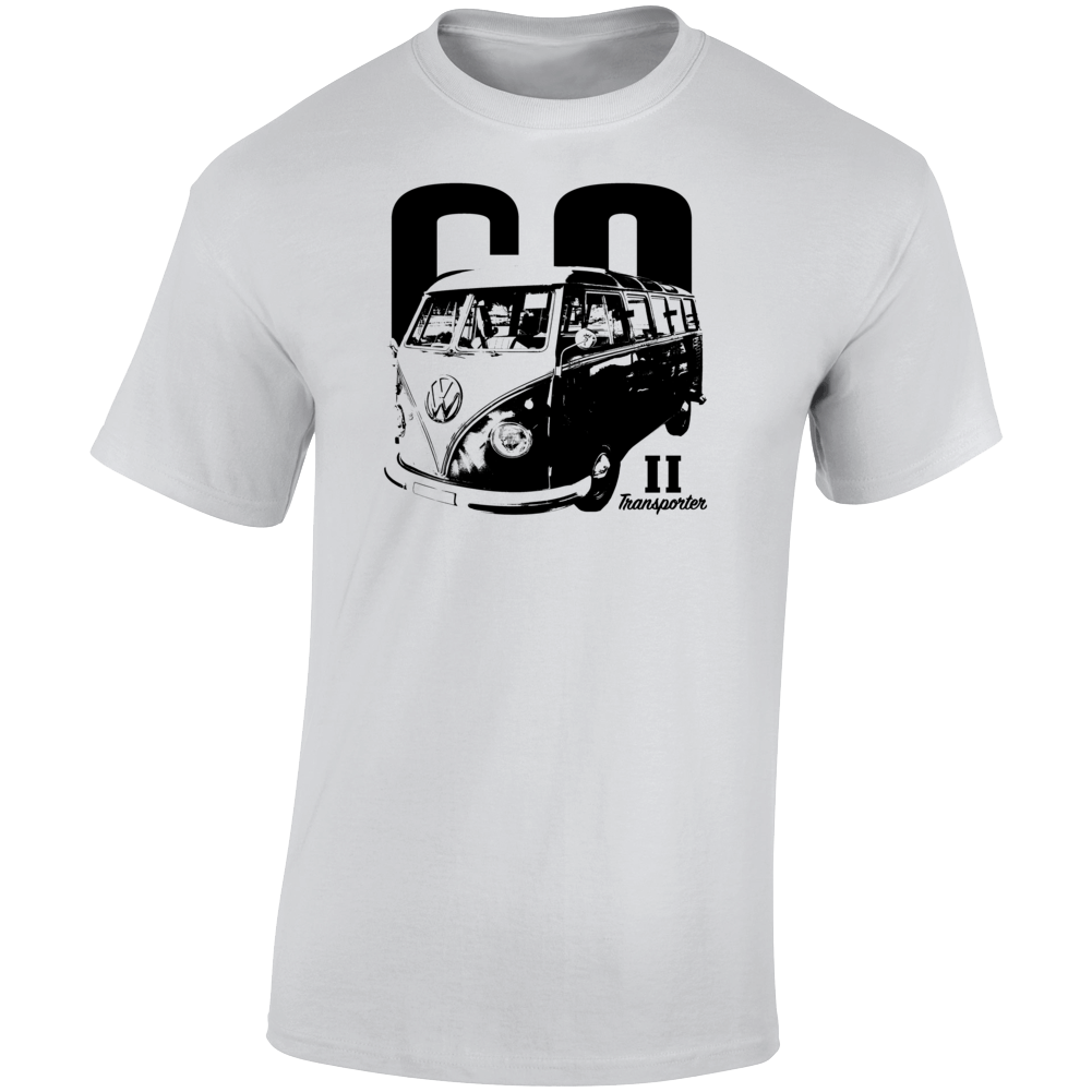 1960 V W Type 2 Transporter Three Quarter Angle View With Year And Model Name Light Color T Shirt