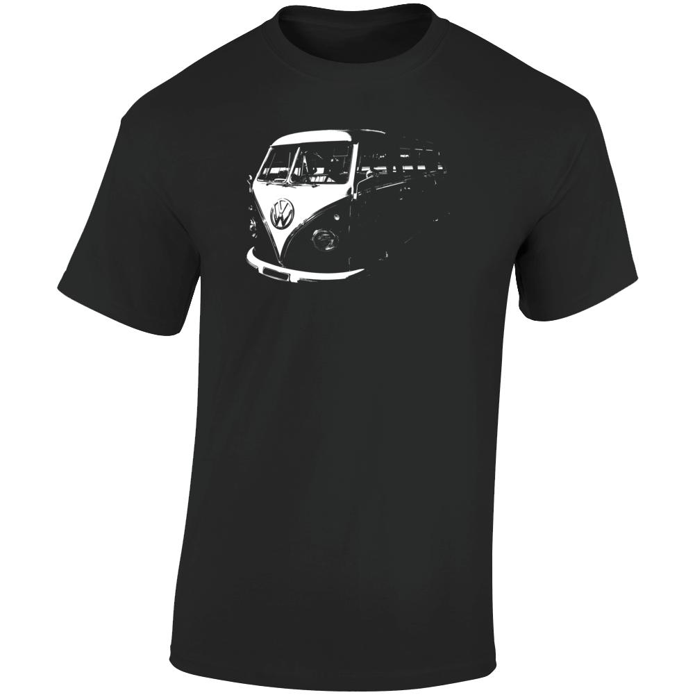 1960 V W Type 2 Transporter Three Quarter Angle View Dark Color T Shirt