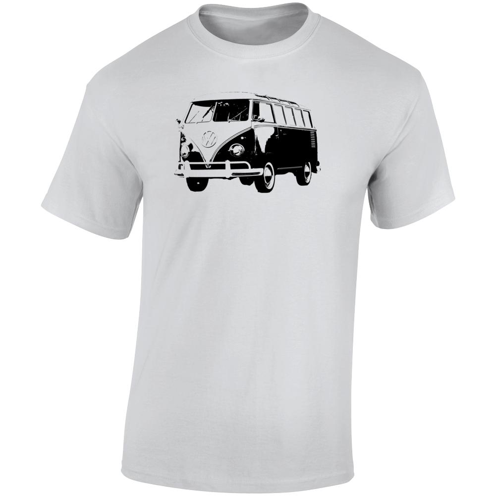 1961 V W Type 2 Transporter Three Quarter Angle View Light Color T Shirt