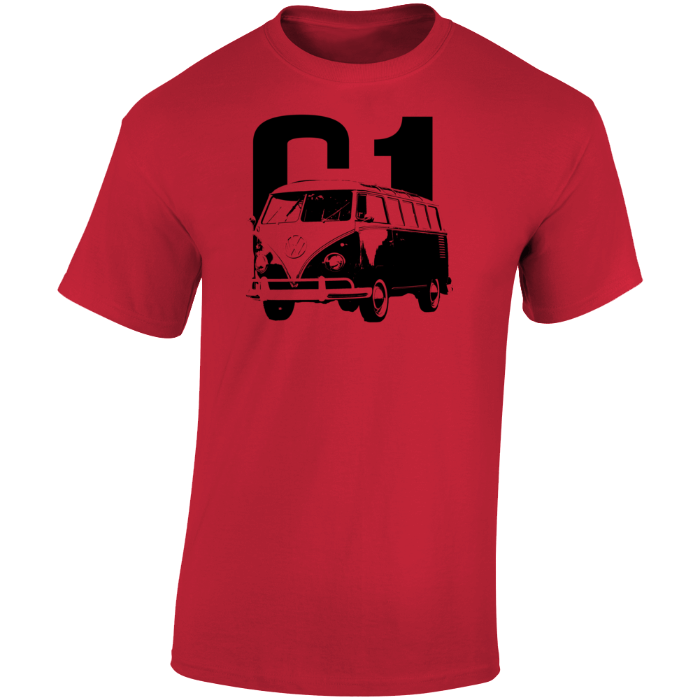 1961 V W Type 2 Transporter Three Quarter Angle View With Year Light Color T Shirt