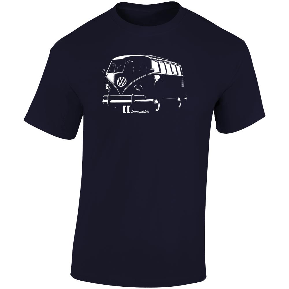 1961 V W Type 2 Transporter Three Quarter Angle View With Model Name Dark Color T Shirt
