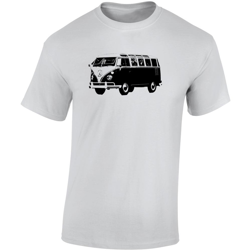 1962 V W Type 2 Transporter Three Quarter Angle View Light Color T Shirt