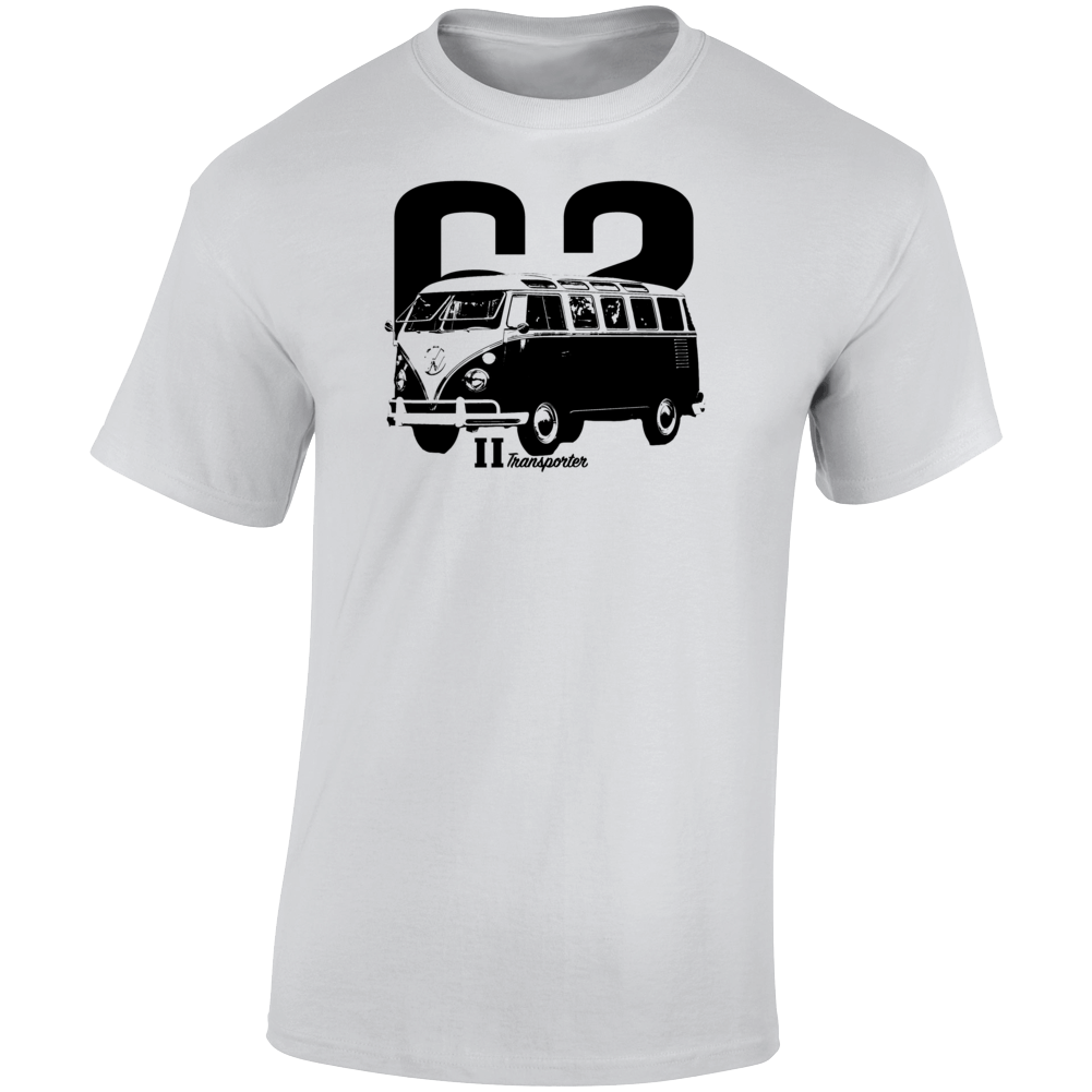 1962 V W Type 2 Transporter Three Quarter Angle View With Year And Model Name Light Color T Shirt