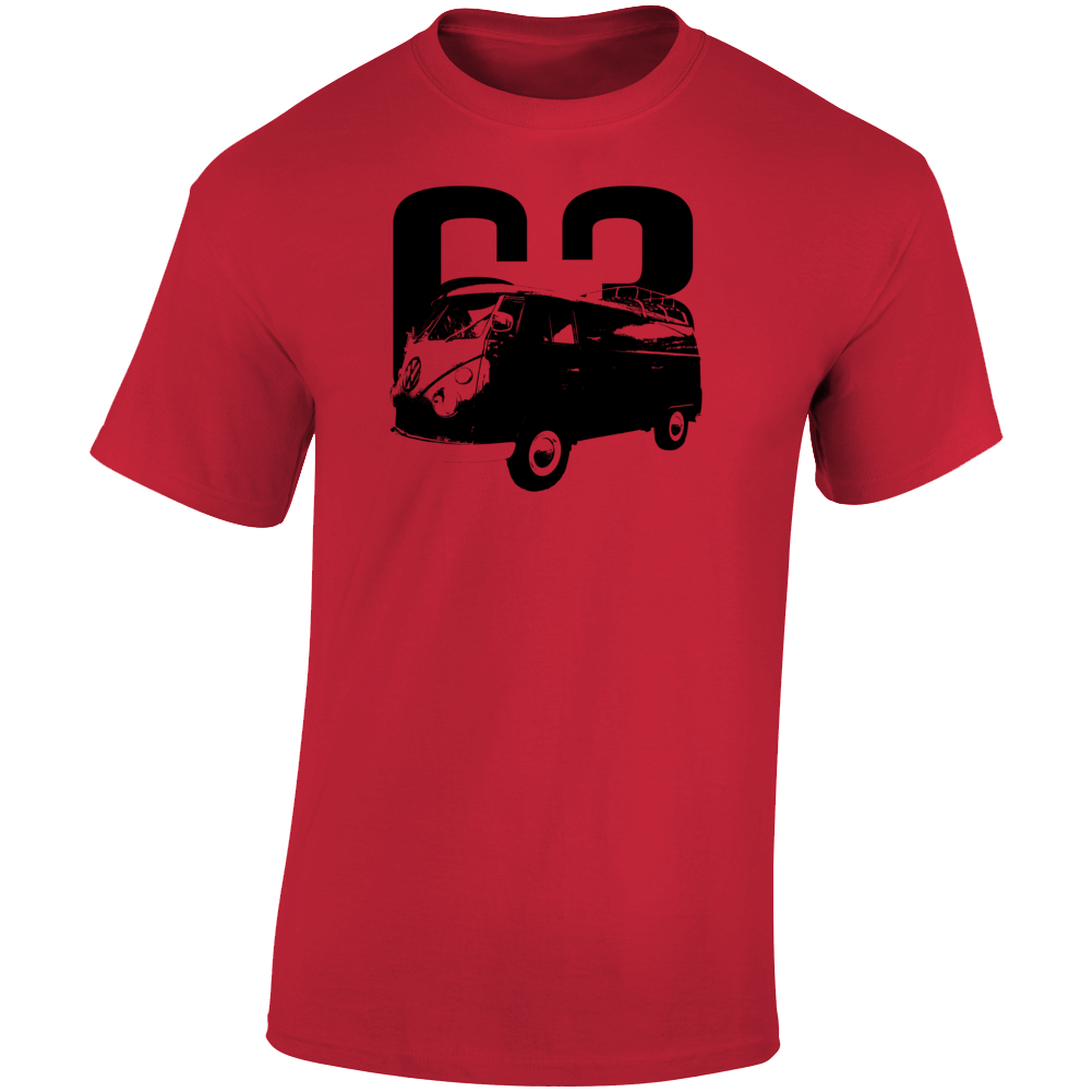 1963 V W Type 2 Transporter Three Quarter Angle View With Year Light Color T Shirt