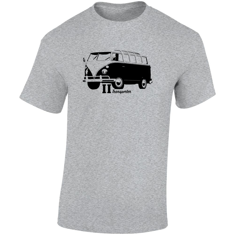 1965 V W Type 2 Transporter Three Quarter Angle View With Model Name Light Color T Shirt