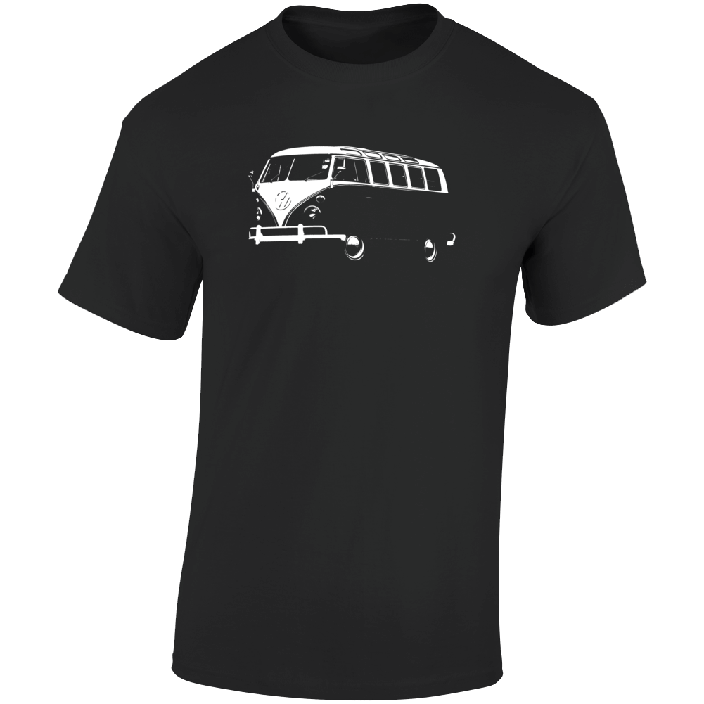 1965 V W Type 2 Transporter Three Quarter Angle View Dark Color T Shirt