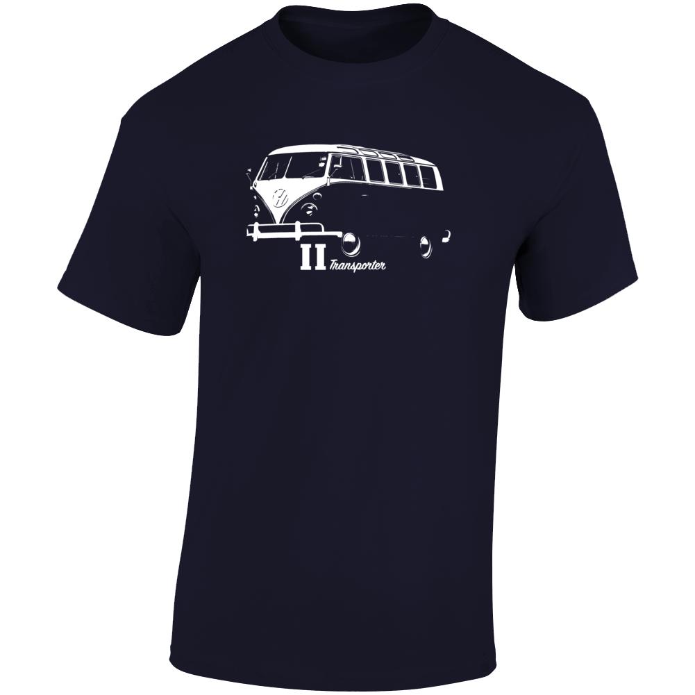 1965 V W Type 2 Transporter Three Quarter Angle View With Model Name Dark Color T Shirt