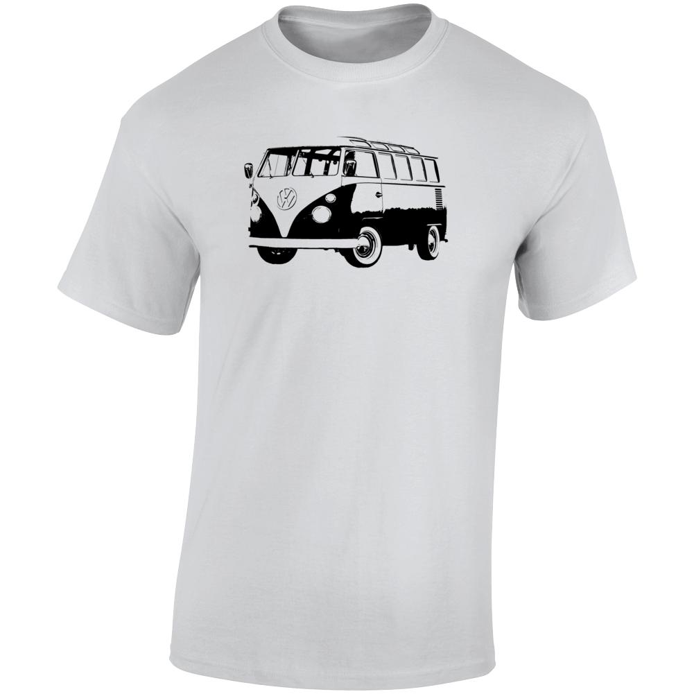 1966 V W Type 2 Transporter Three Quarter Angle View Light Color T Shirt