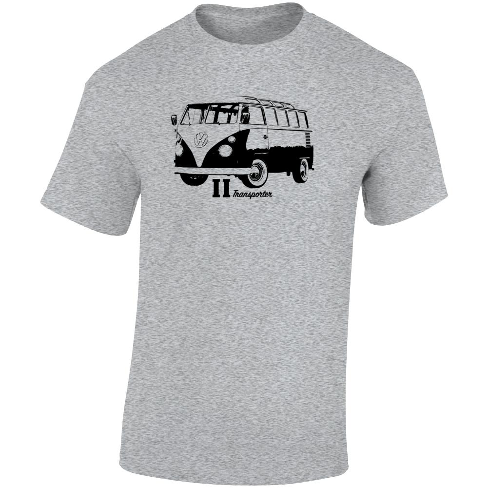 1966 V W Type 2 Transporter Three Quarter Angle View With Model Name Light Color T Shirt