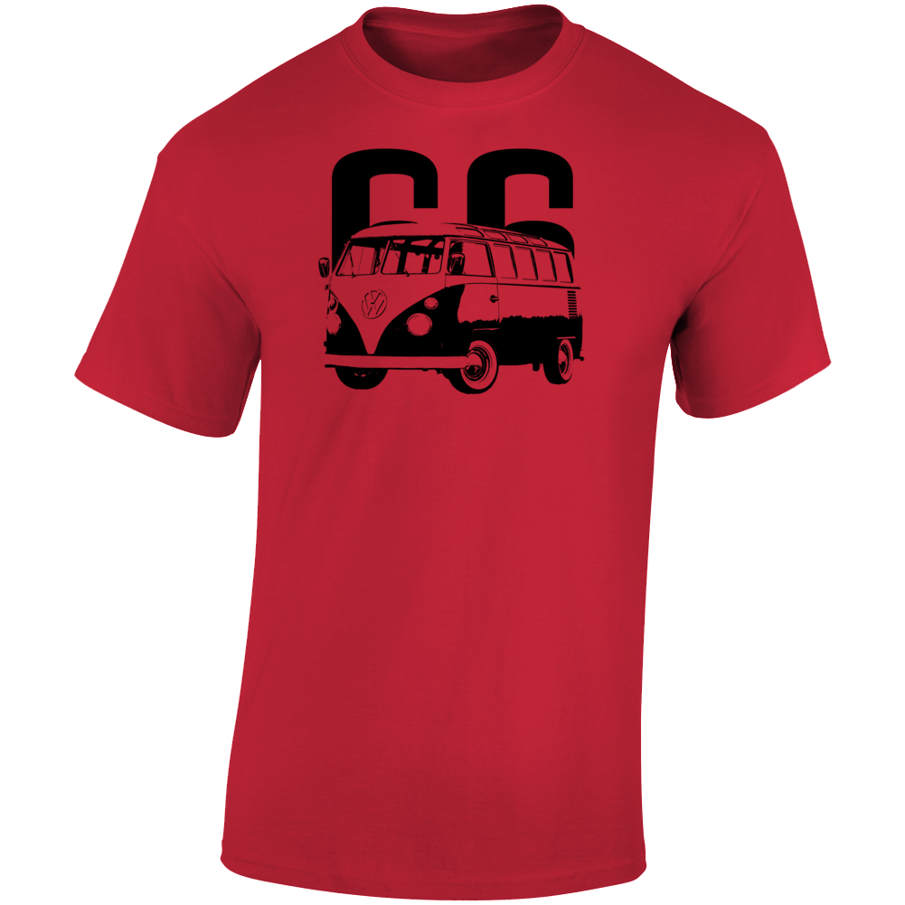 1966 V W Type 2 Transporter Three Quarter Angle View With Year Light Color T Shirt