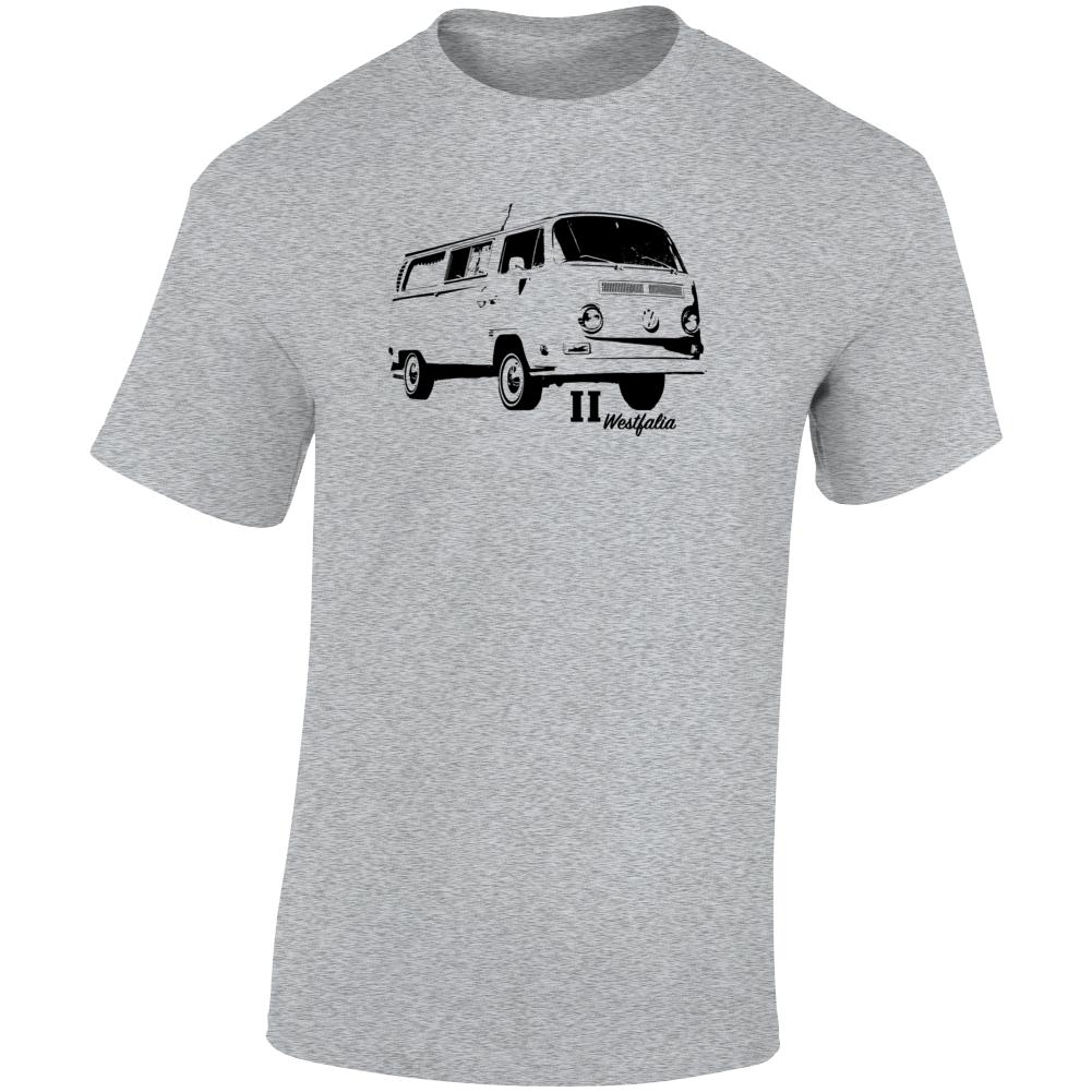 1971 V W Type 2 Westfalia Three Quarter Angle View With Model Name Light Color T Shirt
