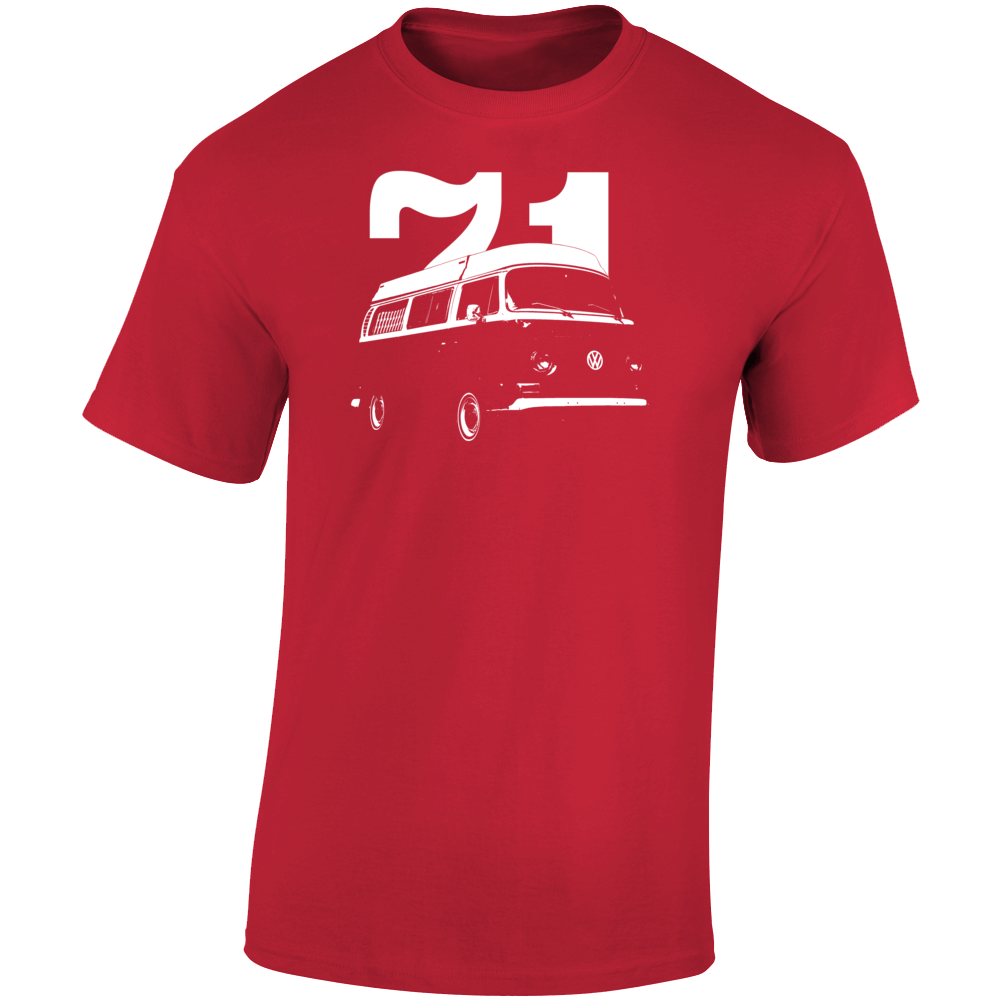 1971 V W Type 2 Westfalia Three Quarter Angle View With Year Dark Color T Shirt