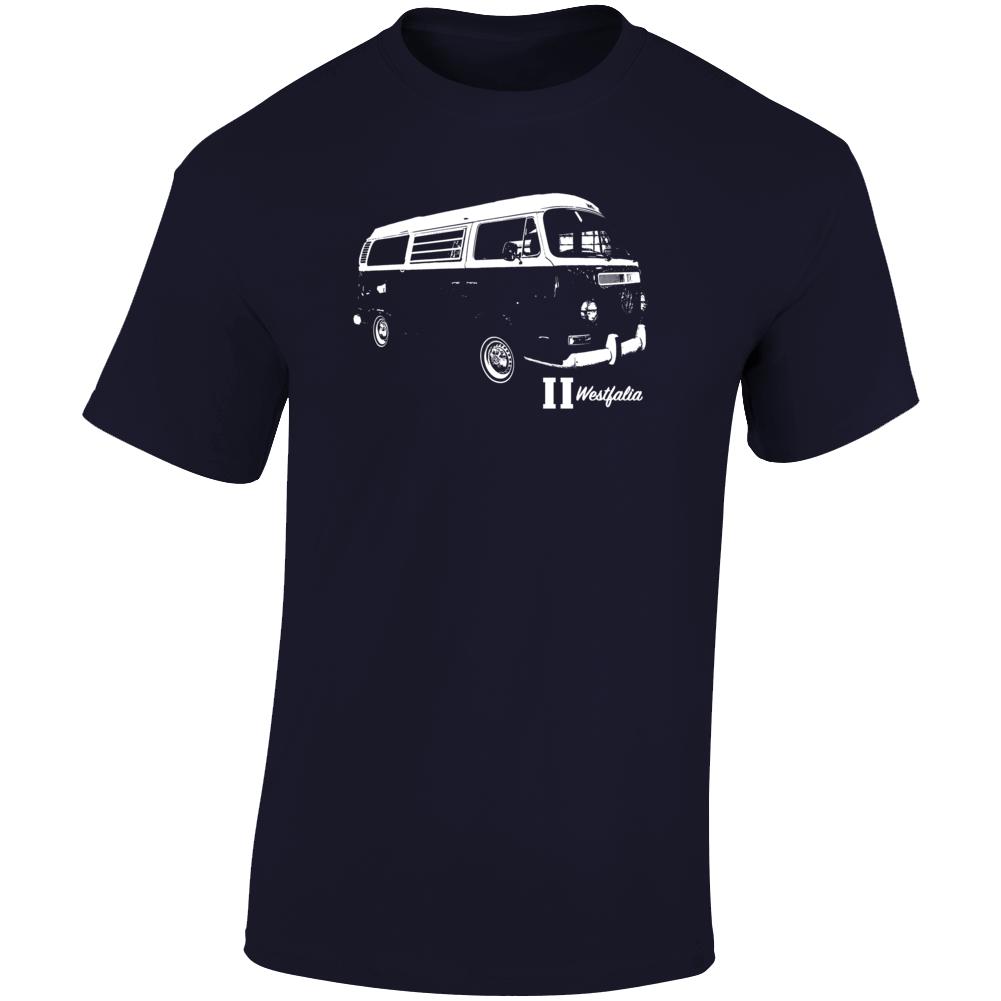 1972 V W Type 2 Westfalia Three Quarter Angle View With Model Name Dark Color T Shirt