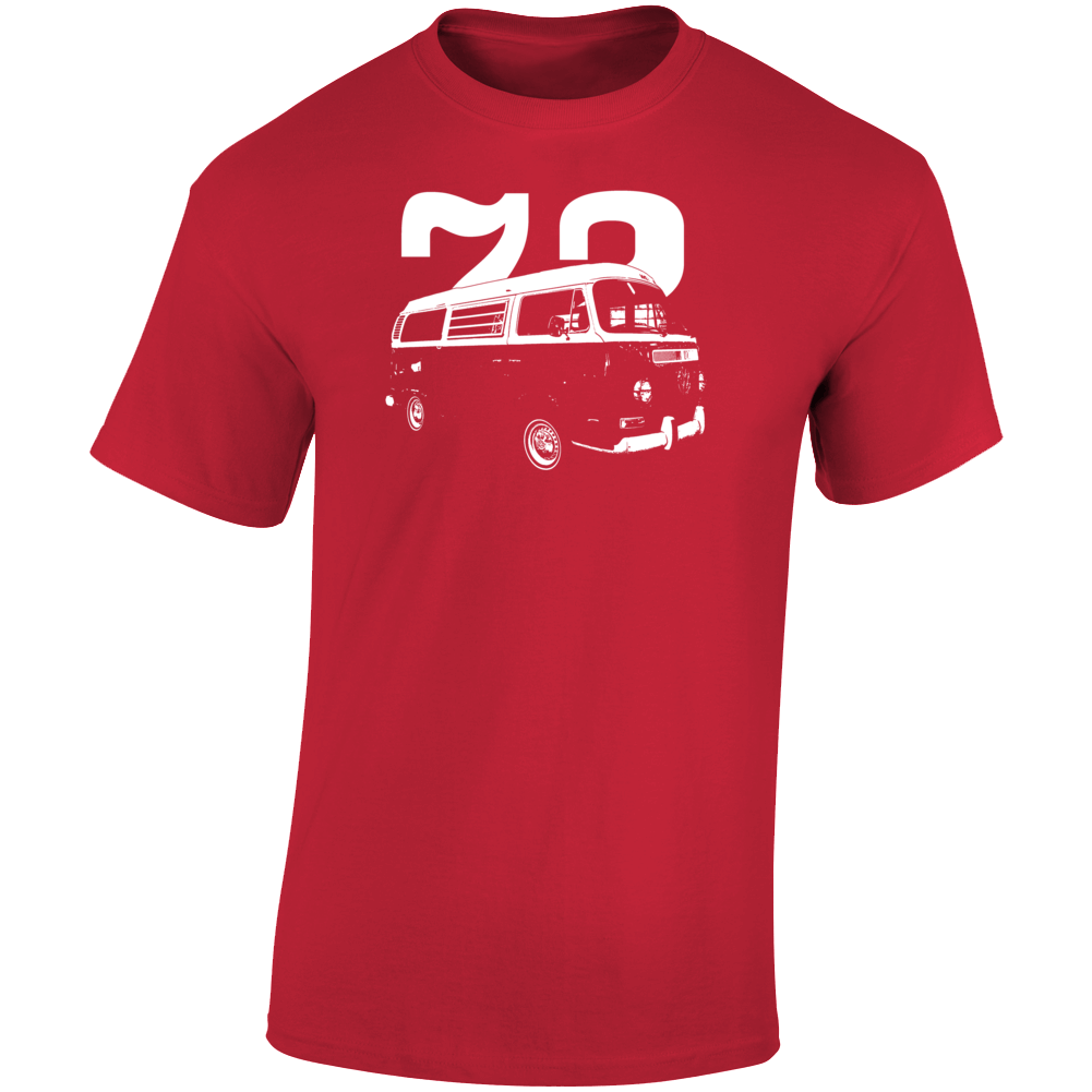 1972 V W Type 2 Westfalia Three Quarter Angle View With Year Dark Color T Shirt