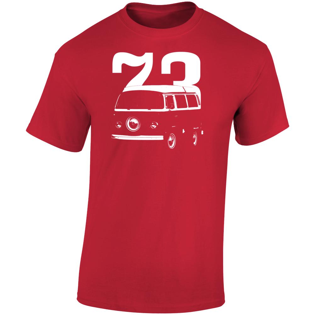 1973 V W Type 2 Westfalia Three Quarter Angle View With Year Dark Color T Shirt
