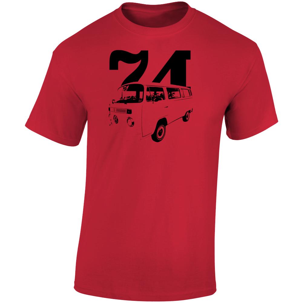 1974 V W Type 2 Westfalia Three Quarter Angle View With Year Light Color T Shirt