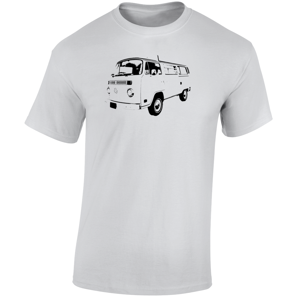 1975 V W Type 2 Westfalia Three Quarter Angle View Light Color T Shirt