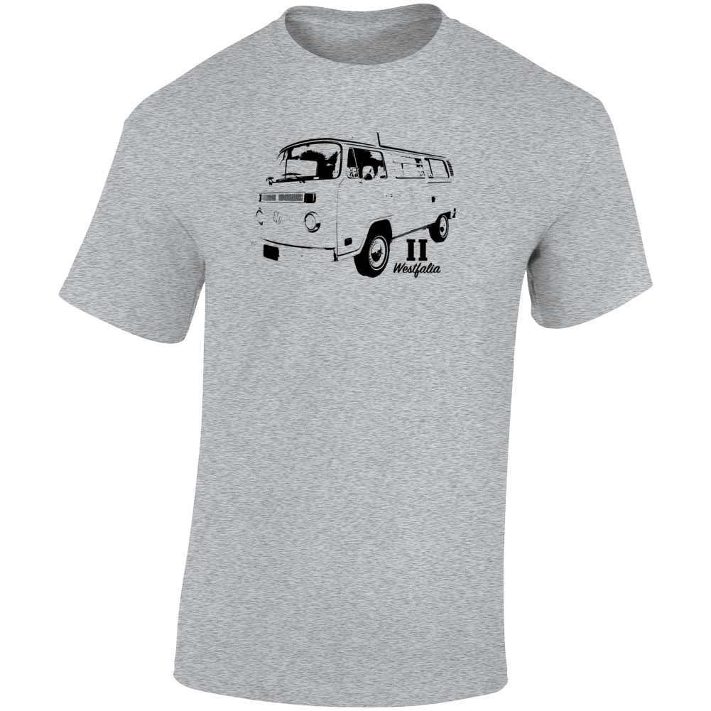 1975 V W Type 2 Westfalia Three Quarter Angle View With Model Name Light Color T Shirt