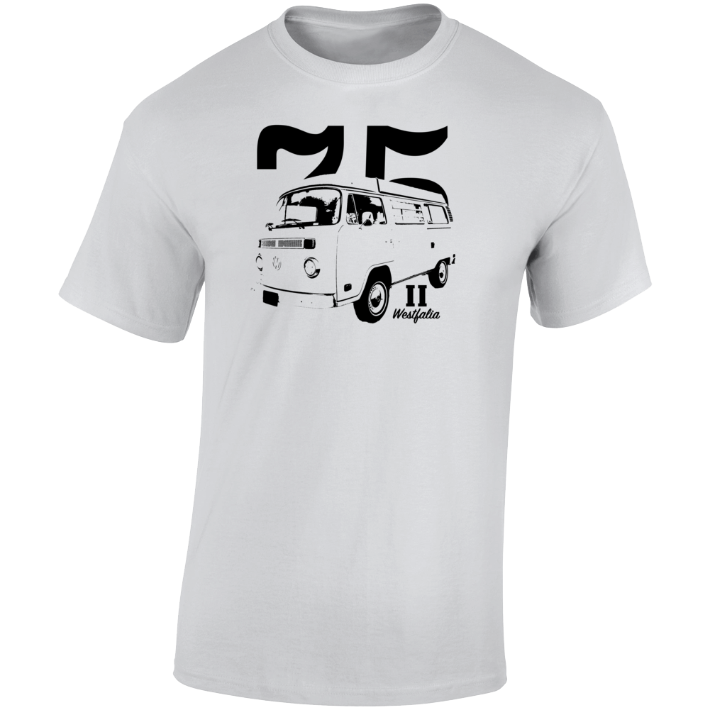 1975 V W Type 2 Westfalia Three Quarter Angle View With Year And Model Name Light Color T Shirt