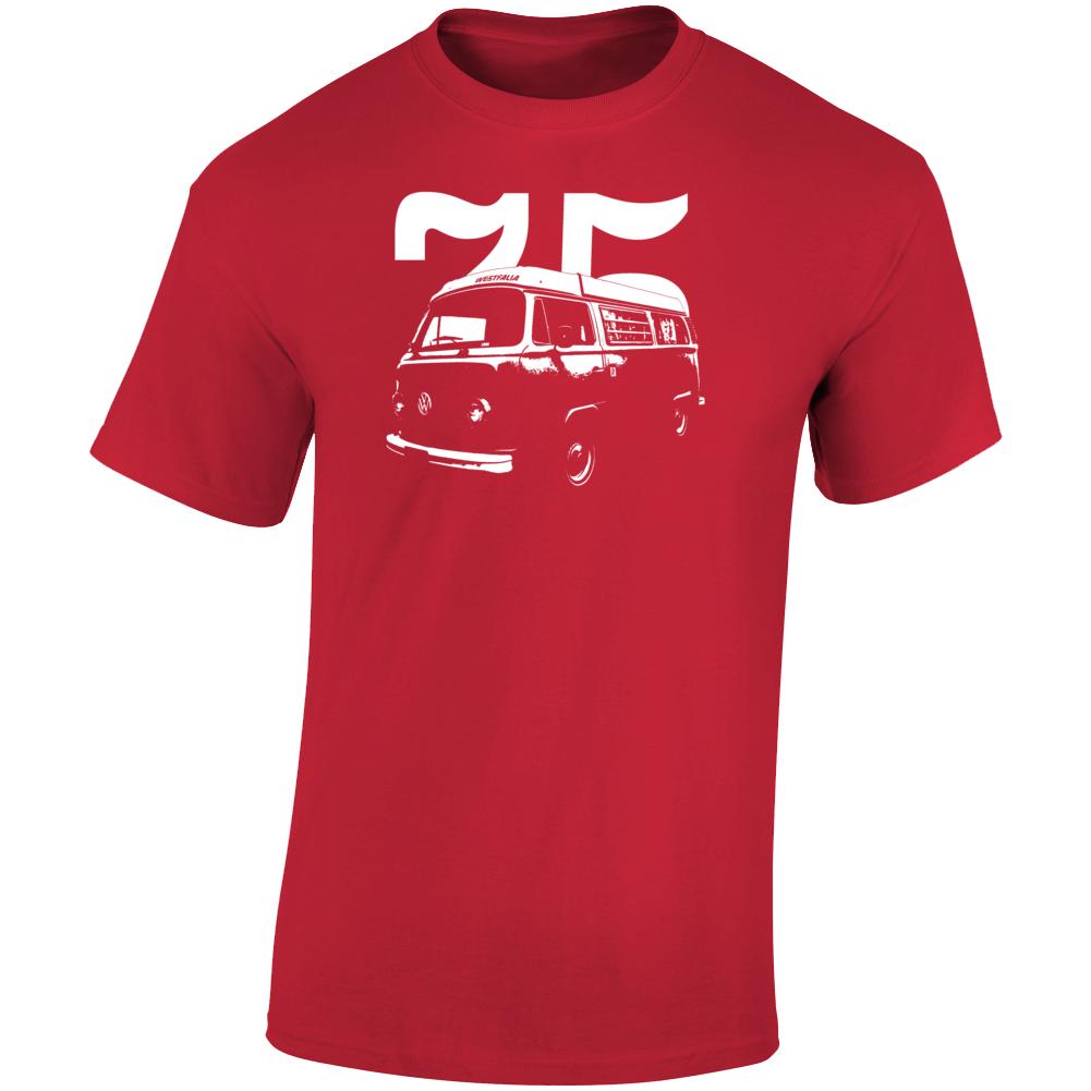1975 V W Type 2 Westfalia Three Quarter Angle View With Year Dark Color T Shirt