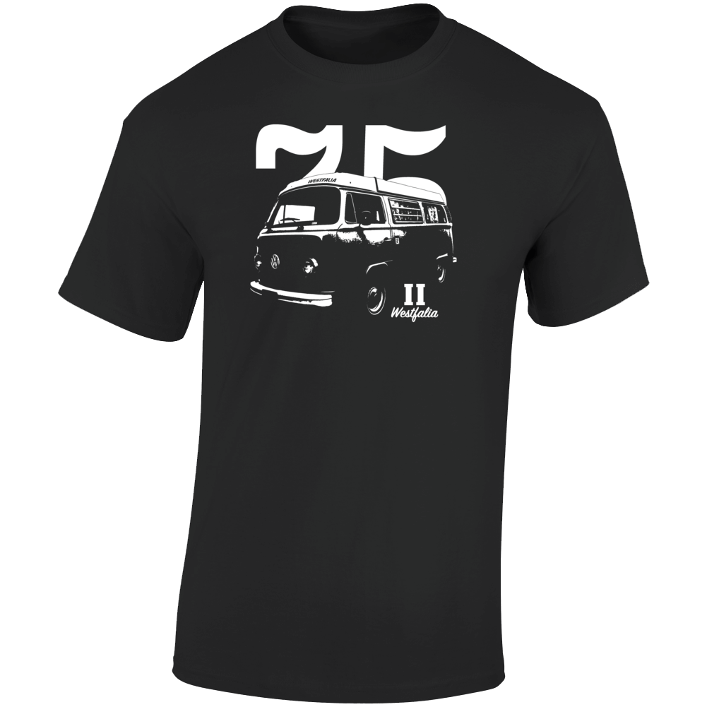 1975 V W Type 2 Westfalia Three Quarter Angle View With Year And Model Name Dark Color T Shirt