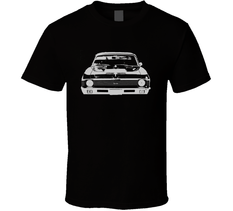 1969 CHEVY NOVA Faded Look Grill View White Graphic Dark T Shirt