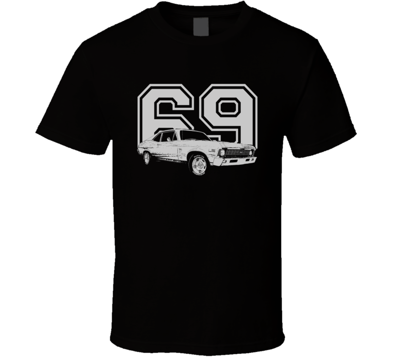 1969 CHEVY NOVA Faded Look Side View White Graphic With Year Dark T Shirt