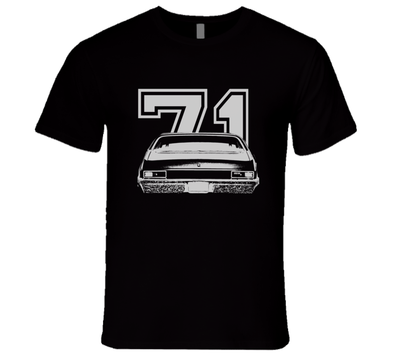1971 CHEVY NOVA Faded Look Rear View White Graphic With Year Dark T Shirt