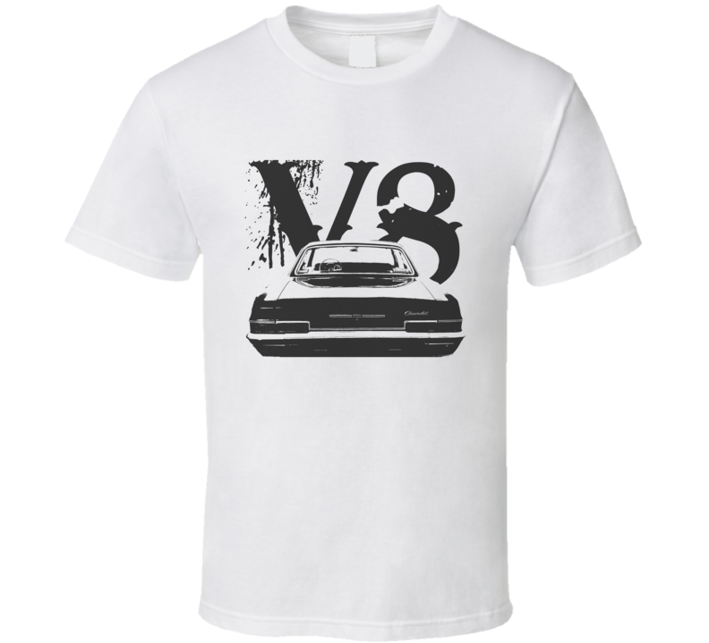 1966 CHEVY BEL AIR Faded Look Rear View Black Graphic With V8 Light T Shirt