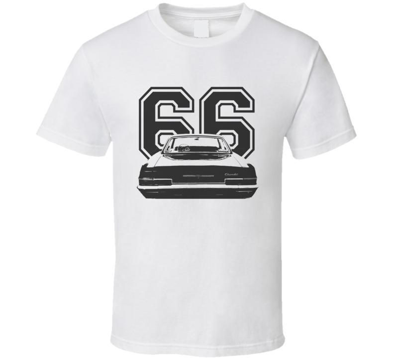 1966 CHEVY BEL AIR Faded Look Rear View Black Graphic With Year Light T Shirt
