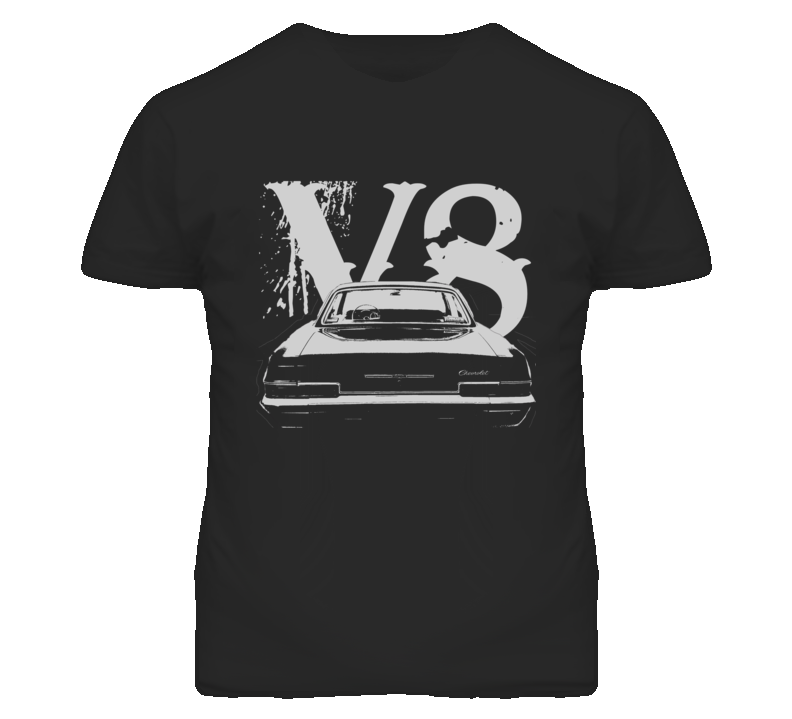 1966 CHEVY BEL AIR Faded Look Rear View White Graphic With V8 Dark T Shirt