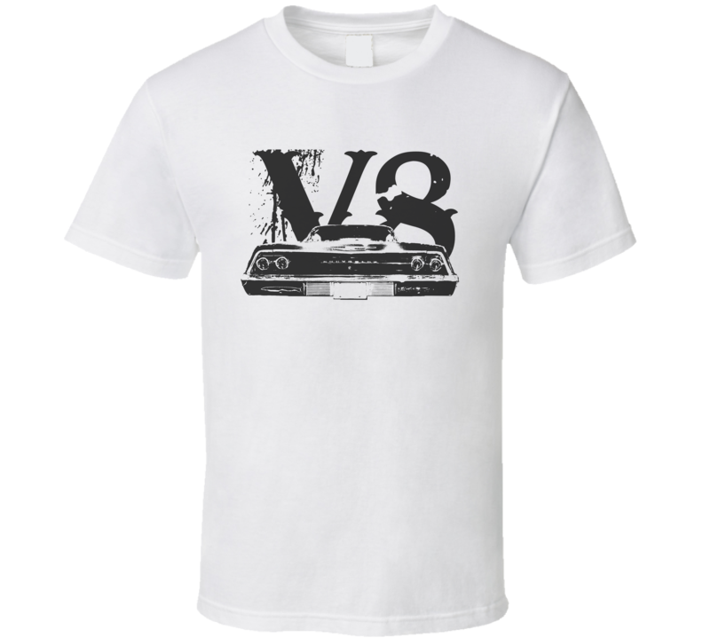 1969 CHEVY BEL AIR Faded Look Rear View Black Graphic With V8 Light T Shirt