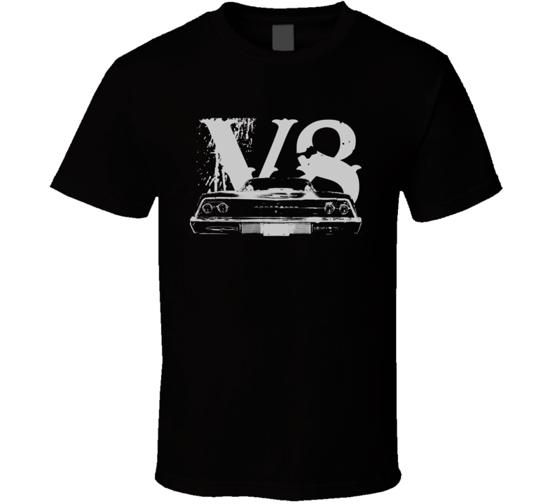 1969 CHEVY BEL AIR Faded Look Rear View White Graphic With V8 Dark T Shirt