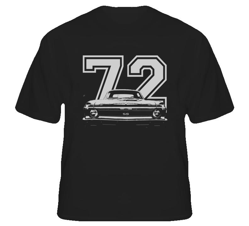 1972 CHEVY NOVA Grill View White Graphic Wth Year Dark T Shirt