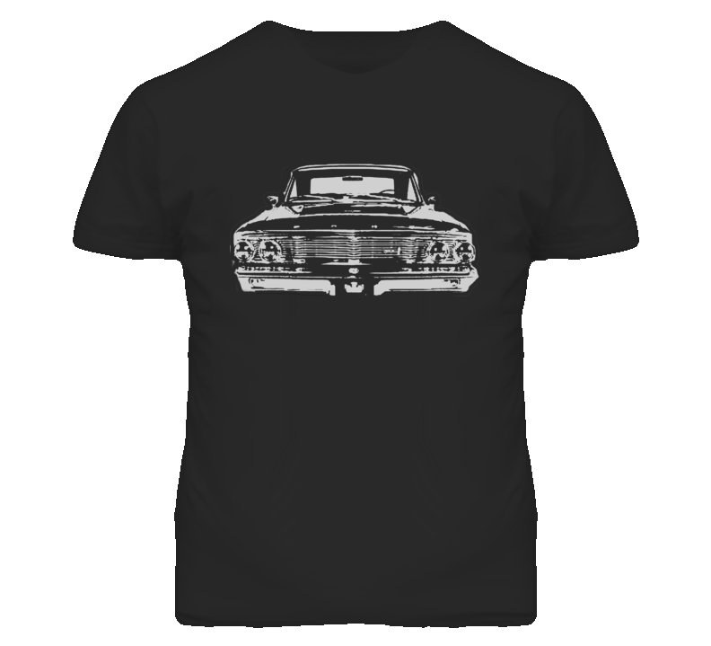 1964  GALAXIE Faded Look Grill View White Graphic Dark T Shirt