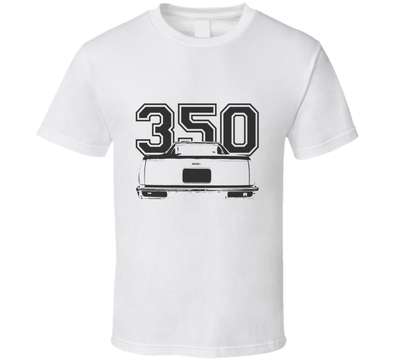 1978 GMC CABALLERO Rear View Black Graphic With Engine Size Light T Shirt