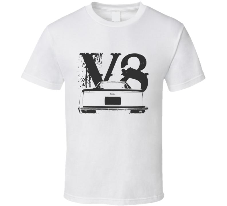 1978 GMC CABALLERO Rear View Black Graphic With V8 LightT Shirt