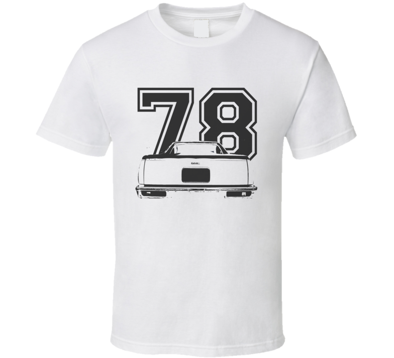 1978 GMC CABALLERO Rear View Black Graphic With Year Light T Shirt