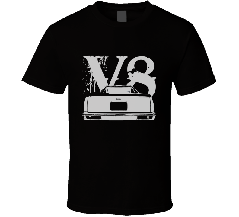 1978 GMC CABALLERO Rear View White Graphic With V8 Dark T Shirt