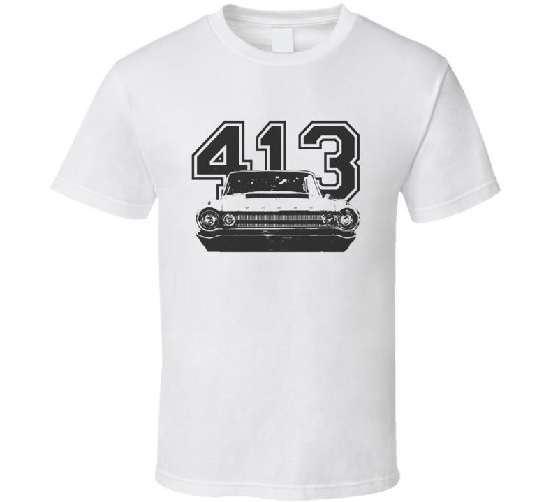 1964 DODGE POLARA Faded Look Grill View Black Graphic With Engine Size Light T Shirt