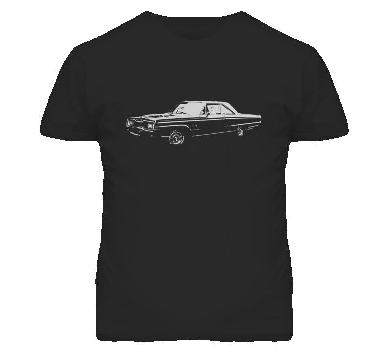 1965 DODGE POLARA Faded Look Side View White Graphic Dark T Shirt