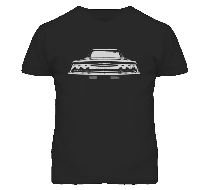 1962 CHEVY IMPALA SS Faded Look Rear View White Graphic Dark T Shirt