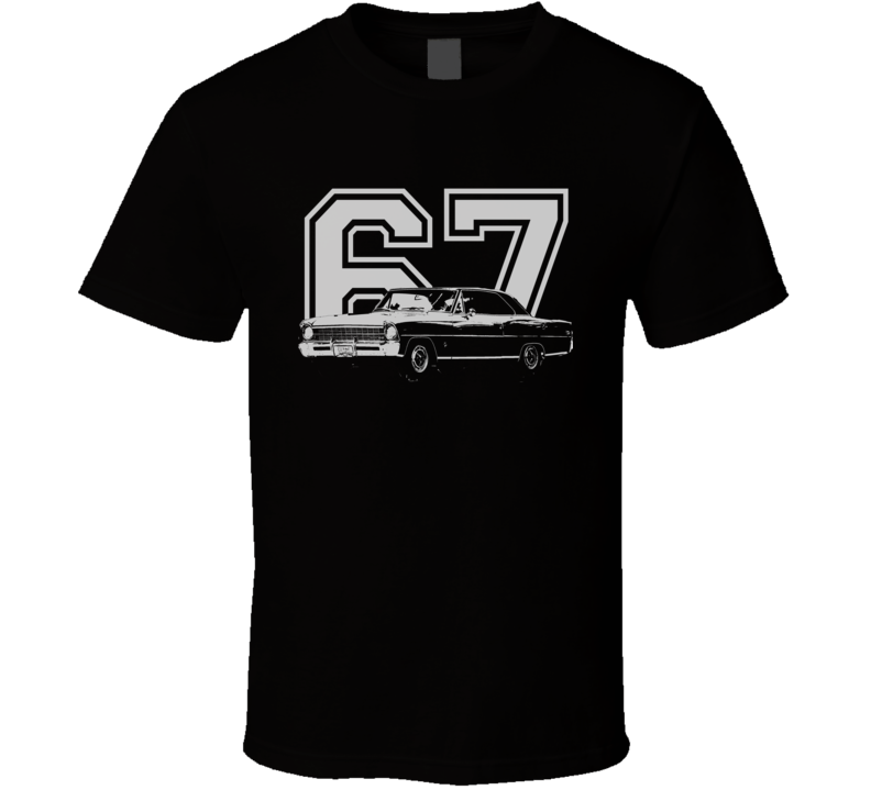 1967 CHEVY NOVA Faded Look Side View With Year White Graphic Dark T Shirt