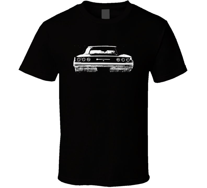 1965 Chevy Impala Rear View Faded Look Dark T Shirt