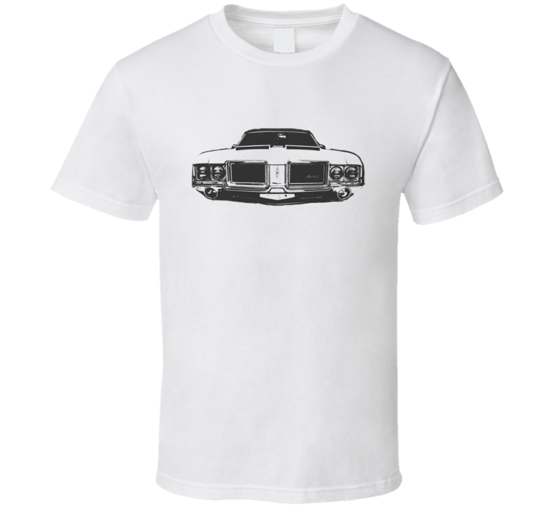1971 OLDSMOBILE 442 Grill View Faded Look Black Graphic Light T Shirt