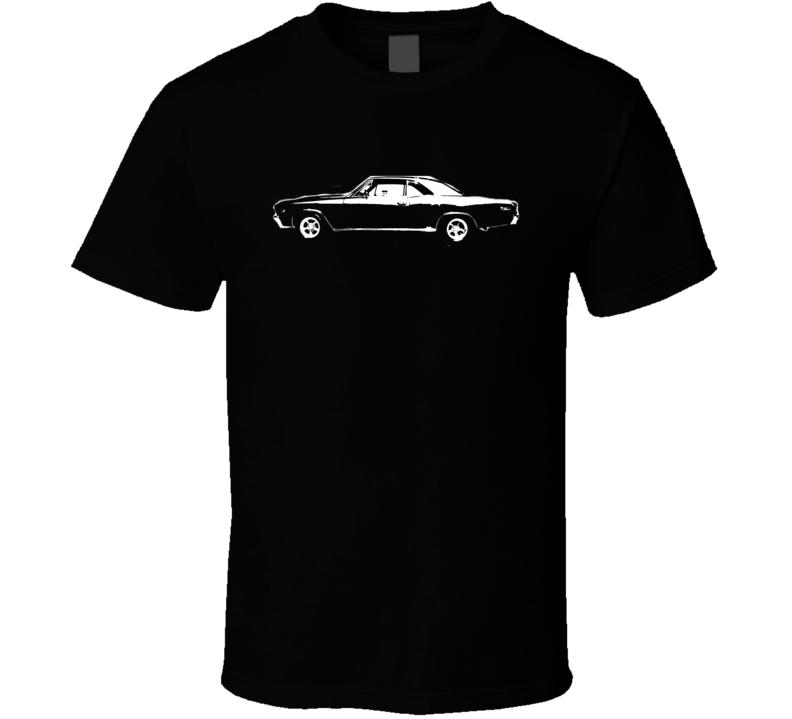 1967 CHEVY CHEVELLE Side View White Graphic Dark T Shirt